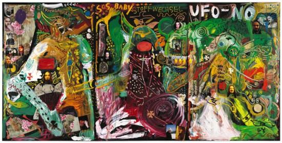 Jonathan Meese SCARLETTIERBABY de METABOLISMEESEEWOLF (BLUTHUNDINNINBABY mit STOFFTIERWECHSEL IM SAALBLUT), 2008 Oil and mixed media on canvas 118.11 x 236.46 x 1.73 inches 300 x 600.6 x 4.4 cm